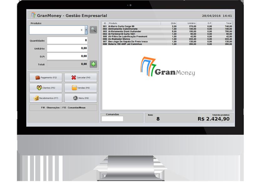 Imagem da tela de frente de caixa (PDV) do sistema GranMoney